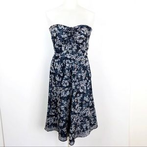J.Crew Floral Black, blue and white cocktail Dress